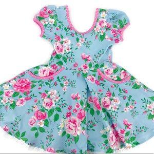NEW Blue Print Floral Print Twirly Easter Dress